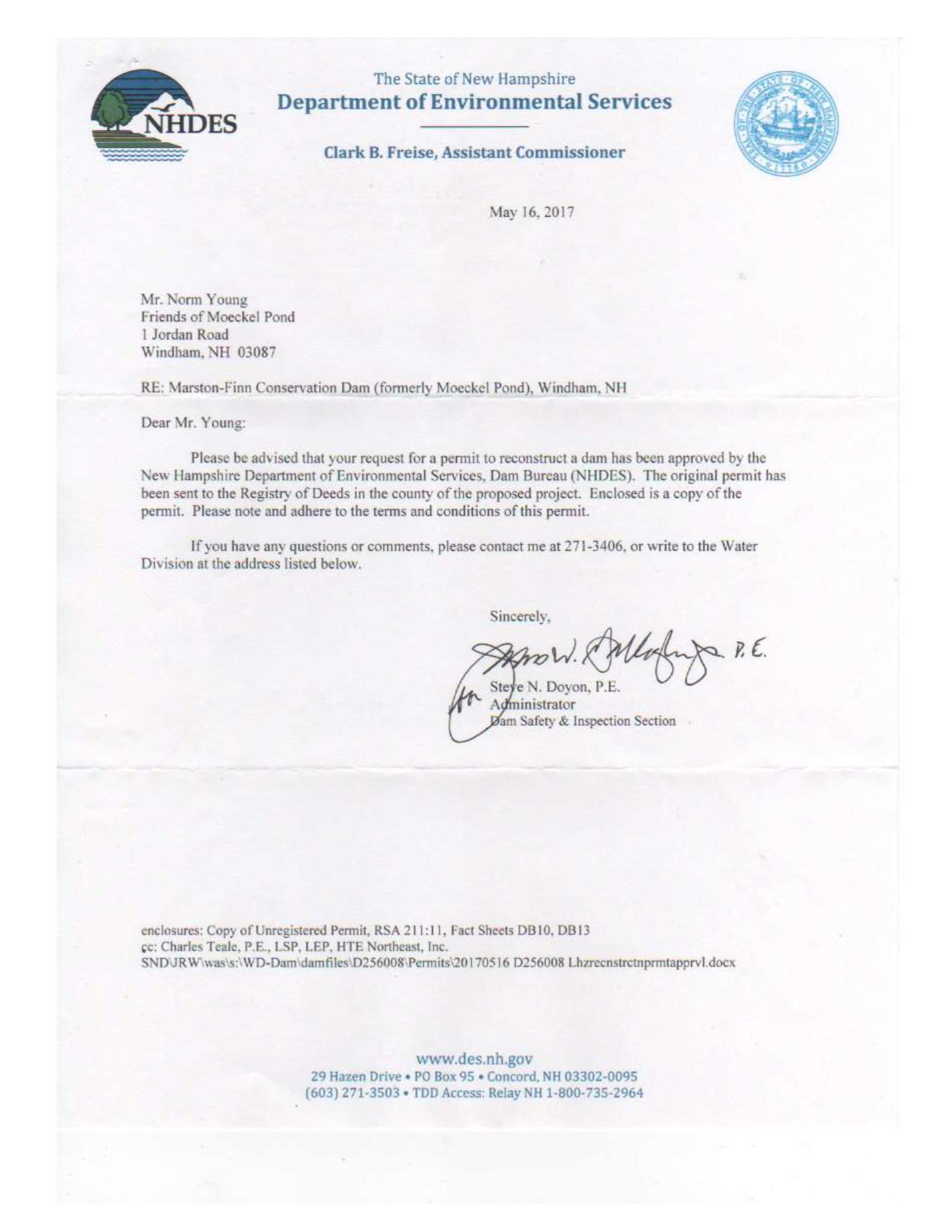 Dam Permit letter